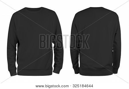Men Black Blank Sweatshirt Template,from Two Sides, Natural Shape On Invisible Mannequin, For Your D