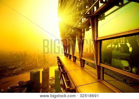 Top view building sunset time in shanghai