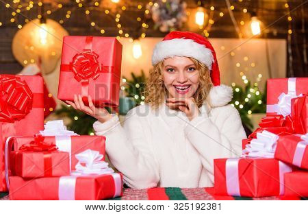 December happy moments. Happiness and joy. Best wishes. Thrilling emotions. Merry christmas and happy new year. Festive mood. Wrapped gifts. Happy smiling adorable woman and bunch of gifts boxes poster