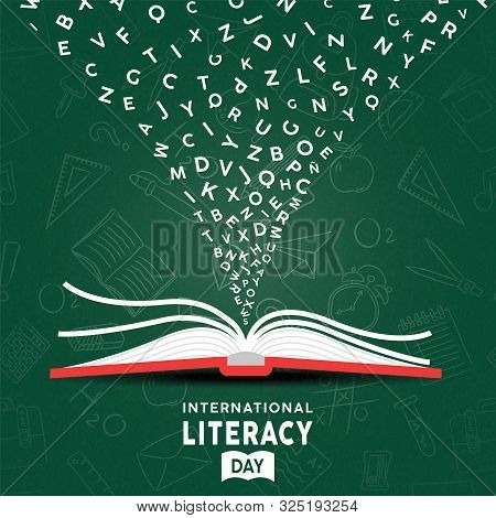 International Literacy Day Greeting Card Illustration Of Open Book With Alphabet Letters On Chalk Bo