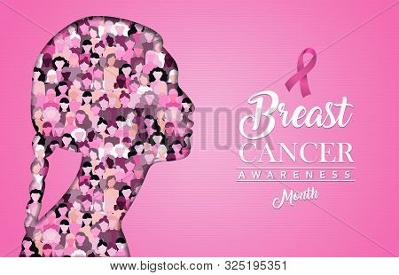 Breast Cancer Awareness Illustration For Support And Health Care. Pink Paper Cut Woman Face Silhouet