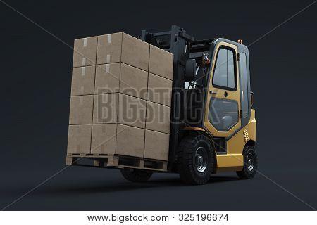 Forklift Transporting Cargo. Forklift Loader. Pallet Stacker Truck Equipment At Warehouse. 3d Render