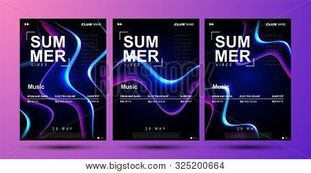 Electronic Music Festival Poster Design. Electro Party Flyer. Abstract Gradient Liquid Shape. Modern