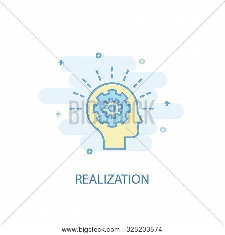 Realization Line Concept. Simple Line Icon, Colored Illustration. Realization Symbol Flat Design. Ca