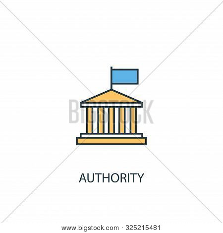 Authority Concept 2 Colored Line Icon. Simple Yellow And Blue Element Illustration. Authority Concep