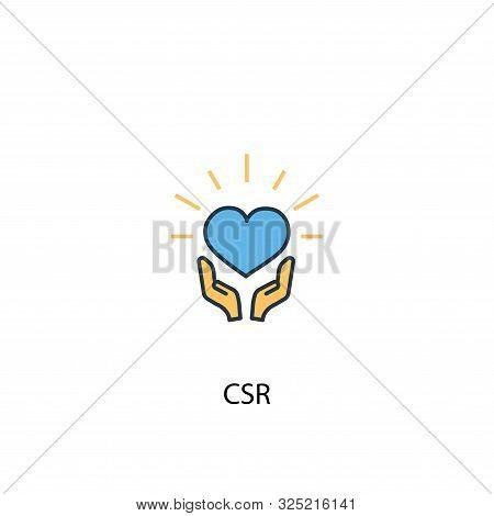 Csr Concept 2 Colored Line Icon. Simple Yellow And Blue Element Illustration. Csr Concept Outline De
