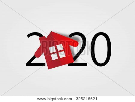Happy New Year 2020. 2020 With Red House Icon