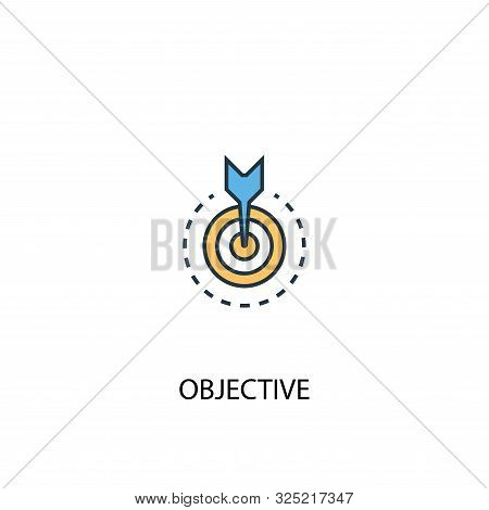 Objective Concept 2 Colored Line Icon. Simple Yellow And Blue Element Illustration. Objective Concep