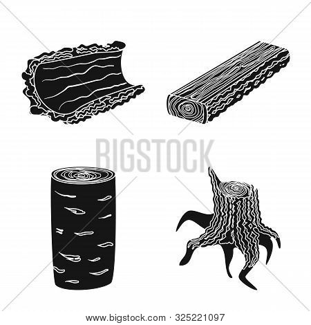 Isolated Object Of Hardwood And Construction Sign. Set Of Hardwood And Wood Stock Vector Illustratio