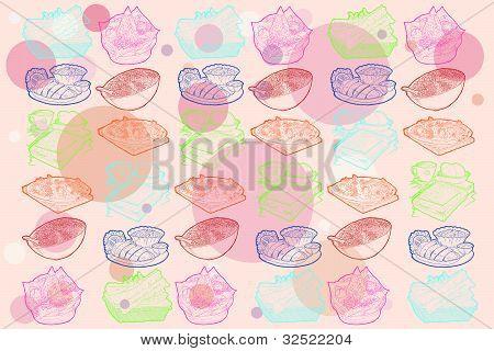 Food seamless doodles pattern