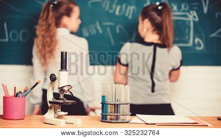 Little Scientist Work With Chemistry Microscope. Chemistry Research. Biology Lesson. Back To School.