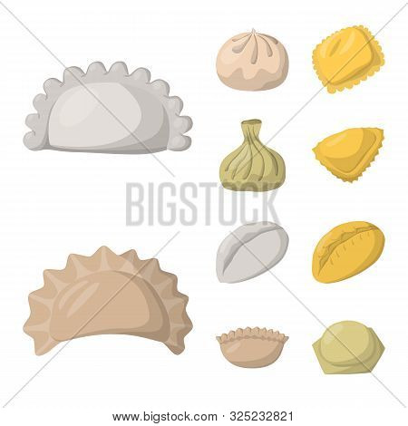 Vector Illustration Of Dumplings And Food Symbol. Set Of Dumplings And Stuffed Stock Symbol For Web.