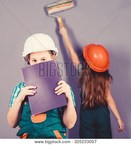 Violet is my favorite color. Children sisters renovation their room. Control renovation process. Kids happy renovating home. Repaint walls. Home improvement activity. Kids girls planning renovation poster