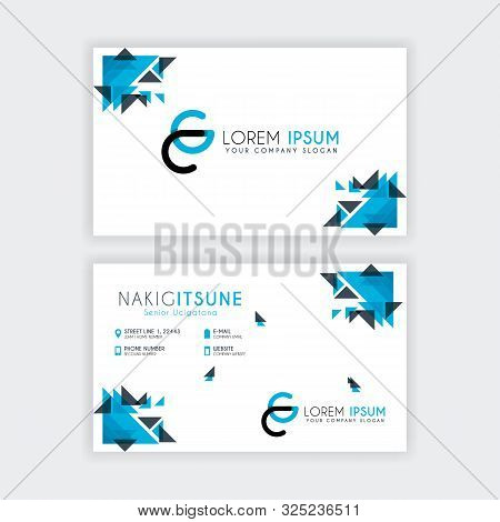 Simple Business Card With Initial Letter Cg Rounded Edges With A Blue And Gray Corner Decoration.