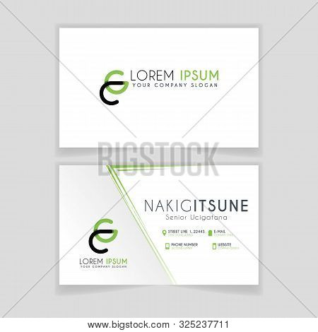 Simple Business Card With Initial Letter Cg Rounded Edges With Green Accents As Decoration.