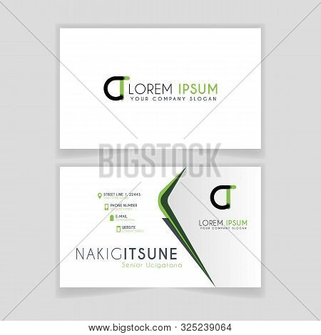 Simple Business Card With Initial Letter Ct Rounded Edges With Green Accents As Decoration.
