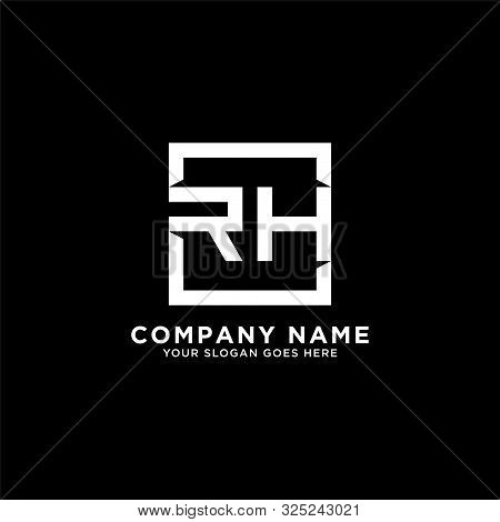 R H Initial Logo Inspirations, Square Logo Template, Clean And Clever Logo Vector