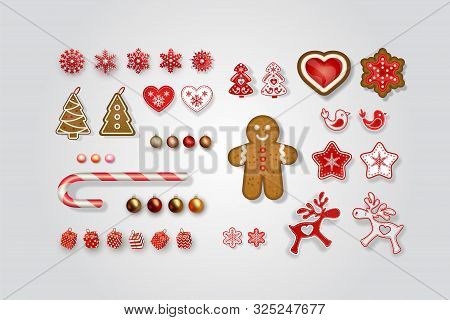 Christmas And New Year Decorations. Set Of Scandinavian Objects For Festive Design. Gingerbread, Lol