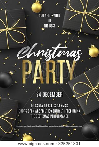 Merry Christmas Party Poster. Holiday Flyer With Realistic Black Gift Boxes, Christmas Black And Gol