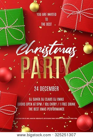 Merry Christmas Party Flyer. Holiday Poster With Realistic Red And Green Gift Boxes, Christmas Red A