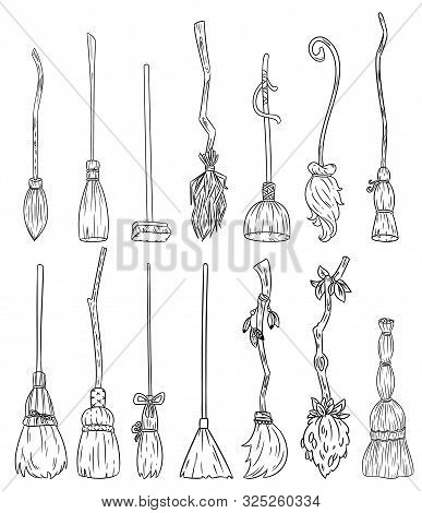 Set Of Cute Broomstick Doodles. Collection Of Happy Halloween Related Icons - Magic Brooms. Cartoon