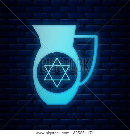 Glowing Neon Decanter With Star Of David Icon Isolated On Brick Wall Background. Pottery Jug. Organi