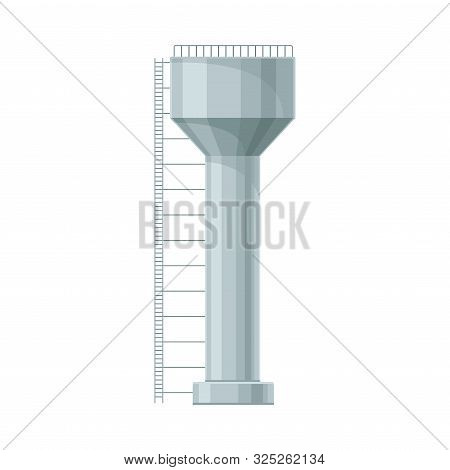 Stee Water Reservoir With Ladder From Left Side Flat Vector Illustration