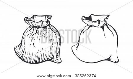 Two Bag Of Burlap With Flour Or Sugar On White Background. Hand Draw Vector Illustration In Engravin