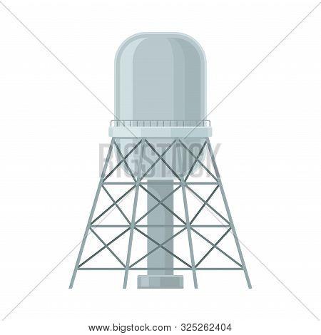 Big Grey Steel Cylinder Reservoir For Water Storage Flat Vector Illustration