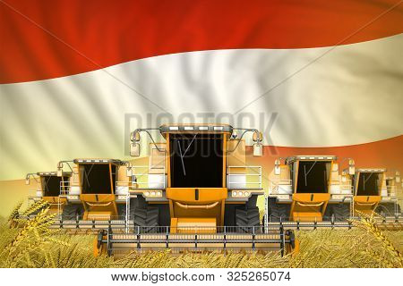 Many Yellow Farming Combine Harvesters On Wheat Field With Austria Flag Background - Front View, Sto