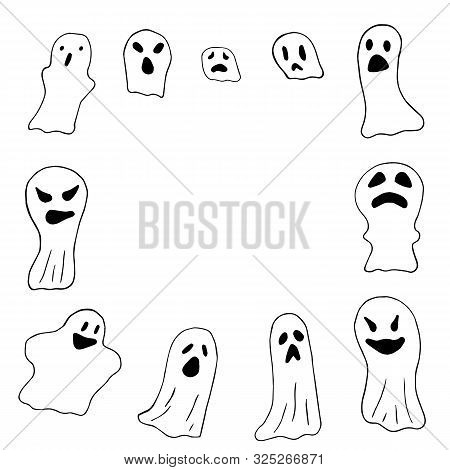 Set Of Scary Ghosts, Line Drawing Border. Happy Halloween. Horror Costume. Vector Illustration