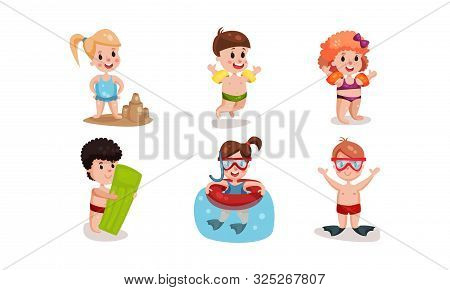 Set Of Vector Illustrations With Different Types Of Children Beach Rest