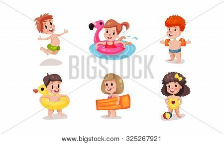 Set Of Vector Illustrations With Children On Resort Beach Vacation