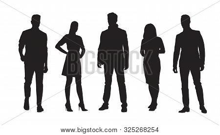 Business People, Group Of Standing Businessmen And Businesswomen. Set Of Isolated Vector Silhouettes