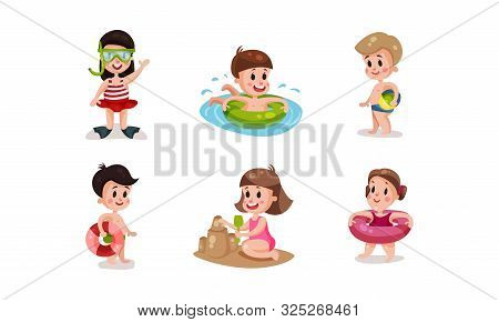 Set Of Vector Illustrations With Children On The Resort Beach Condition