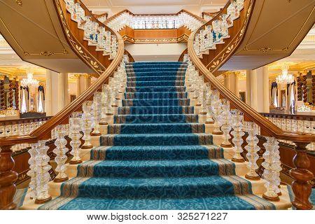Antalya, Turkey - September 12, 2019: Main Staircase In Lobby Of Titanic Mardan Palace Luxury Hotel,