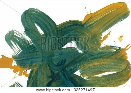 Vertical Colorful Brush Lines Texture Background. Ultramarine Blue, White And Yellow Abstract Paint