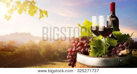 Autumn Countryside Wine Background; Vine, Red Wine Bottles, Wineglass, Wine Barrel; Wine Tasting Con