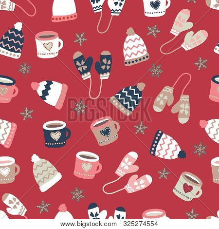 Winter Elements Warm Clothes Cookies And Mugs Seamless Vector Pattern. Hand Drawn Doodle Elements Wa