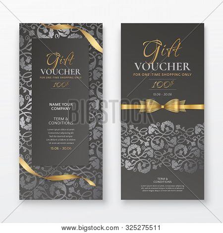 Set Of Luxury Black Gift Vouchers With Gold Ribbons, Bow And Silver Vintage Floral Pattern. Vector E