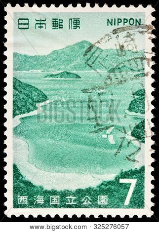Luga, Russia - September 20, 2019: A Stamp Printed By Japan Shows Beautiful View Of Goto Wakamatsu S