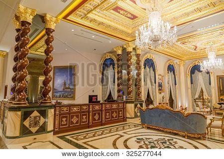 Antalya, Turkey - September 12, 2019: Reception Desk In Lobby Of Titanic Mardan Palace Luxury Hotel,