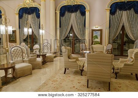 Antalya, Turkey - September 12, 2019: Cafe In Lobby Of Titanic Mardan Palace Luxury Elite All-inclus