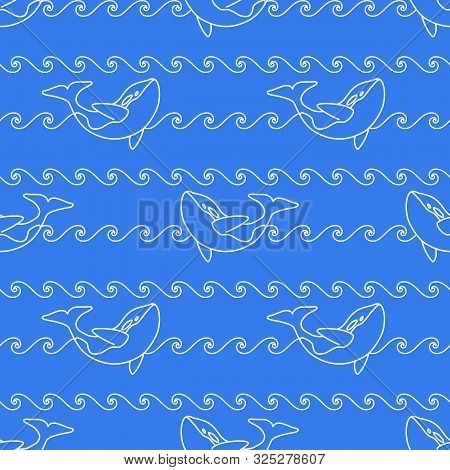 Seamless Abstract Marine Pattern. White Outline Orca Whale And White Line Waves On Blue Background.