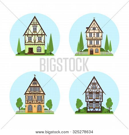 Set Of Isolated Colored Half Timbered Buildings On White Background. Flat Facade Of European Framing