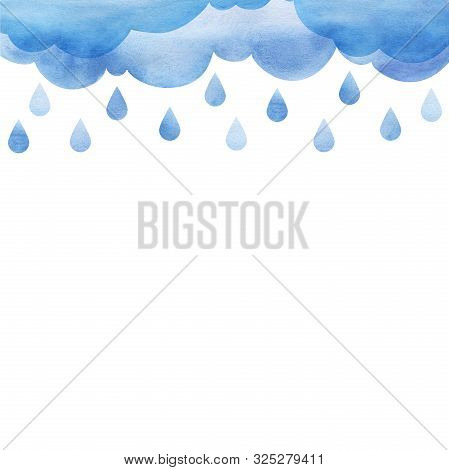 Overcast And Rain. Blue Rainy Clouds. Background Cutout Cumulus Clouds With Paper Texture. Large Rai