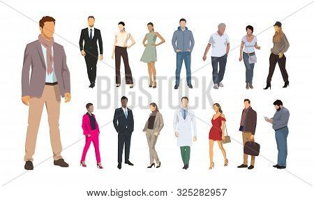 Group Od People, Flat Design Illustrations. Men And Women Vector Isolated Characters