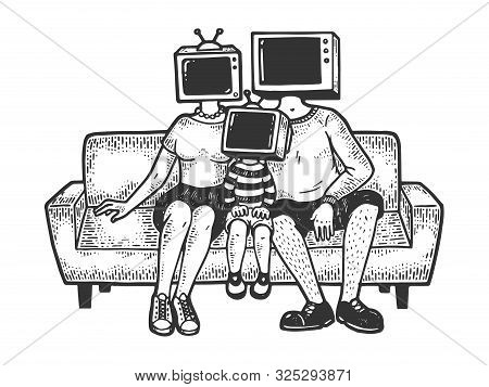 Tv Heads Family Sketch Engraving Vector Illustration. Tee Shirt Apparel Print Design. Scratch Board