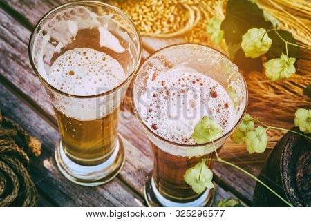 Glasses With Fresh Cold Beer In Rustic Setting