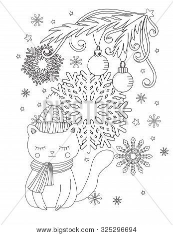 Christmas Coloring Page For Kids And Adults. Cute Cat With Scarf And Knitted Cap. Hand Drawn Vector